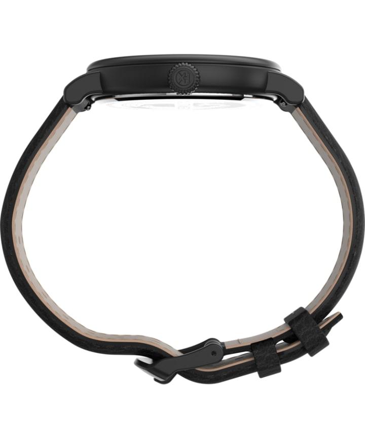 Timex® Standard XL 43mm Leather Strap Watch Black large