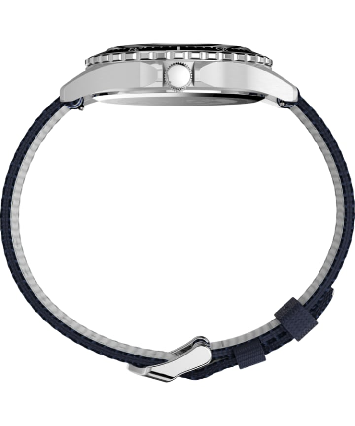 Navi XL41mm Fabric Strap Watch Stainless-Steel/Blue/White large