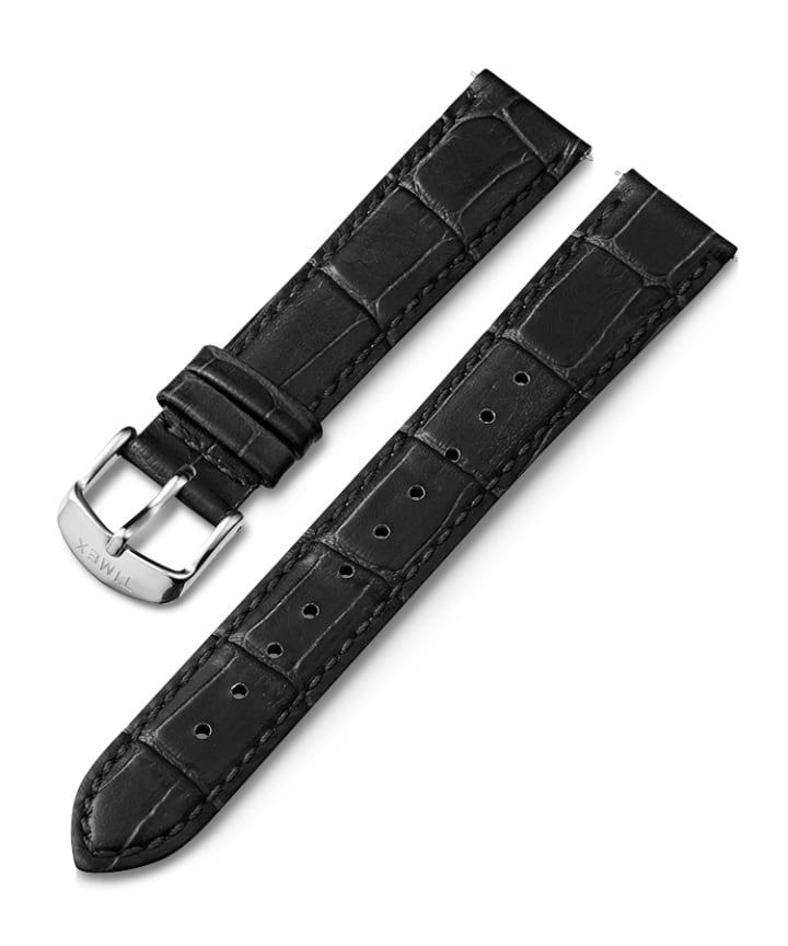 16mm Leather Strap Black large