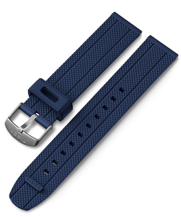 20mm Fabric Strap with Leather Accents Niebieski large