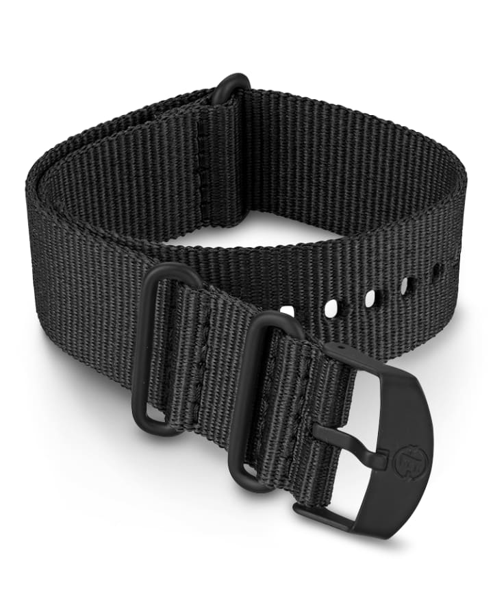 22mm Fabric Slip-Thru Double Layer Strap Black large