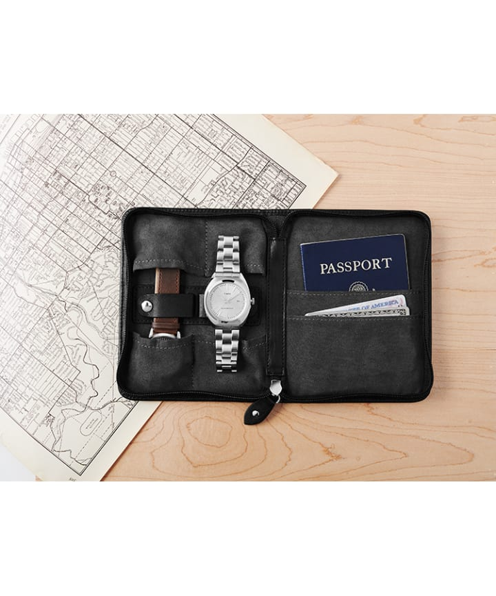 Leather Folio Case and Passport Holder For Two Watches Black large