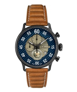 RE-BALANCE T-1 CHRONO SPORT - BLUE AND BROWN  large