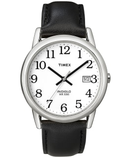 Easy Reader 35mm Leather Watch with Date Silver-Tone/Black/White large