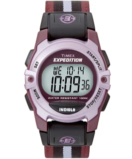Expedition chrono, alarme, minuterie 33 mm, grande, bracelet en nylon violet