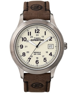 Expedition Metal Field 39 mm grande, bracelet en cuir ton argent/brun/naturel
