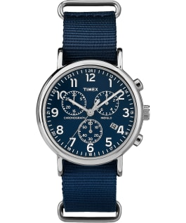 Weekender Chrono 40mm Nylon Strap Watch Silver-Tone/Blue large
