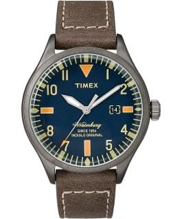 Waterbury 40mm Leather Watch Gunmetal/Brown/Blue large