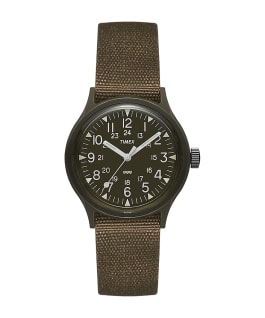 MK1 36mm Military inspired Grosgrain Strap Watch Black/Green large