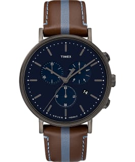 Fairfield Chronograph 41mm Leather Watch with Stripe, Gunmetal/Brown/Blue, large