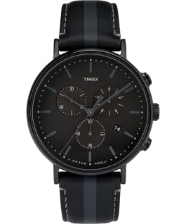 Fairfield Chronograph 41mm Leather Watch with Stripe Black large
