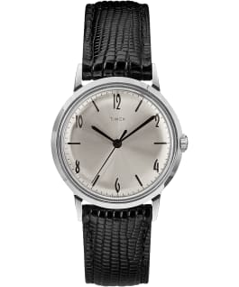 Marlin® 34mm Hand-Wound Leather Strap Watch Black/Silver-Tone large