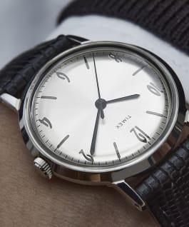 Montre Marlin 34mm Mécanique à remontage manuel avec bracelet en cuir, Black/Silver-Tone, large