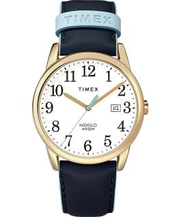 Easy Reader aux couleurs vives 38mm, grande, bracelet en cuir doré/bleu/blanc