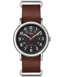 Weekender 38mm Leather Watch Silver-Tone/Brown/Black large