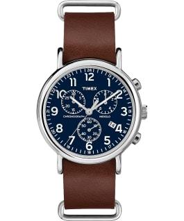 Weekender Chrono 40mm Dark Leather Watch Silver-Tone/Tan/Blue large