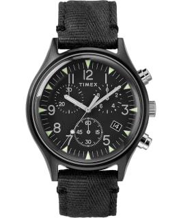 MK1 Chronographe acier 42mm, grande, bracelet en tissu noir