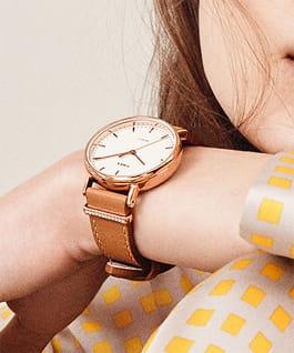 Fairfield Crystal 37mm, grande, bracelet en cuir doré/blanc