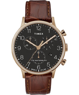 Waterbury-40mm-Classic-Chrono-Leather-Strap-Watch Różowe złoto/Brązowy/Czarny large