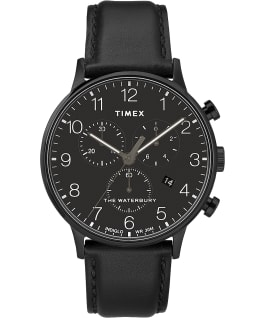 Waterbury-40mm-Classic-Chrono-Leather-Strap-Watch Czarny/Czarny large