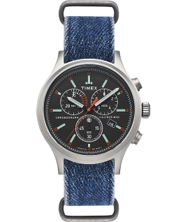 Montre chronomètre Allied 42 mm Bracelet en denim  large