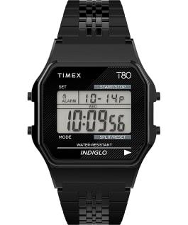 Reloj Timex T80 de 34mm con correa de acero inoxidable Negro large