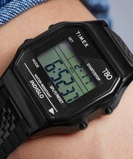 Montre Timex T80 34mm Bracelet en acier inoxydable, Noir, large
