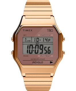 Timex T80 34mm Stainless Steel Expansion Band Watch Rose-Gold-Tone large