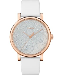 Crystal Opulence with Full Crystal Dial 38mm Leather Strap Watch, Gold-Tone/White, large