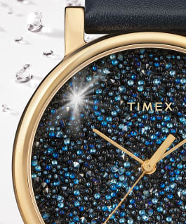 Crystal Opulence with Full Swarovski Dial 38mm Leather Strap Watch Gold-Tone/Blue large