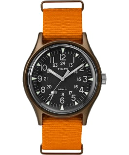 MK1 Aluminum 40mm Nylon Strap Watch Green/Orange/Black large