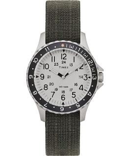 Zegarek Navi Ocean z kopertą 38 mm i paskiem z elastycznego materiału Stal nierdzewna/Zielony/Niebieski/Czarny large