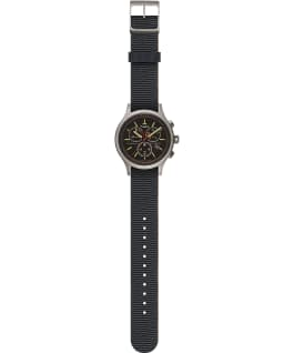 Allied Chronograph 42mm Reflective and Reversible Fabric Strap Watch Silver-Tone/Black large