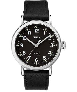 Zegarek Standard z kopertą 40 mm i skórzanym paskiem Srebrny/Czarny large