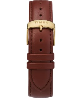 Montre chronomètre Fairfield 41 mm Bracelet en cuir Rose doré/Marron/Blanc large