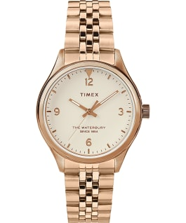 Waterbury Traditional 34mm Stainless Steel Bracelet Watch Rose-Gold-Tone/Cream large