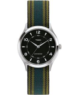 Whitney Village mit Ripsband-Armband und schwarzem Ziffernblatt, 38 mm Edelstahl/schwarz large