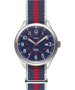 Reloj Waterbury United de 38 mm con correa de tela Acero inoxidable/Azul large
