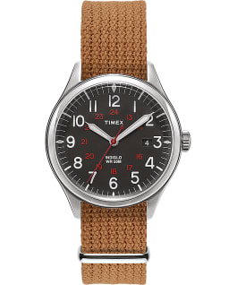 Reloj Waterbury United de 38 mm con correa de tela Acero inoxidable/Crema large