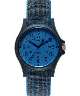 Acadia 40mm Elastic Fabric Strap Watch Blue/White large