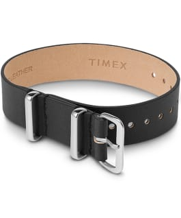 16mm Leather Single Layer Slip Thru Strap with Silver Black large