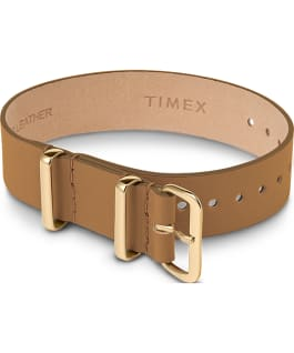 16mm Leather Single Layer Slip Thru Strap with Gold Tone Tan large