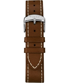Snoopy 38mm Leather Strap Watch Silver-Tone/Brown/White large