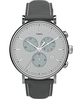 Fairfield Chronograph mit Lederarmband, 41 mm Silberfarben/grau large