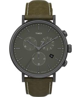 Zegarek Fairfield Chronograph z kopertą 41 mm i skórzanym paskiem  Stalowoszary/Zielony large