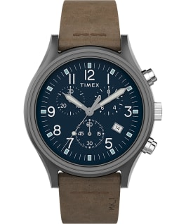MK1 Steel Chronograph 42 mm con cinturino in pelle  Canna di fucile/Marrone/Blu large