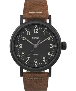 Zegarek Standard z kopertą 40 mm i skórzanym paskiem Czarny/Brązowy/Czarny large