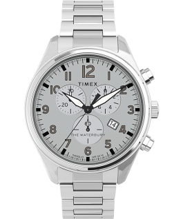 Waterbury Traditional Chronograph 42 mm braccialato in acciaio Acciaio/Silver large