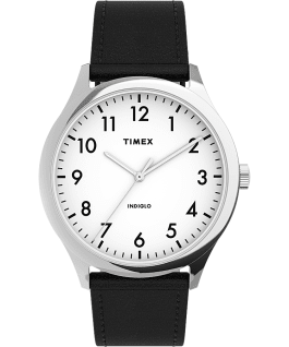 Modern Easy Reader 40mm Leather Strap Watch Silver-Tone/Black/White large