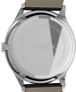 Montre Modern Easy Reader 40 mm Bracelet en cuir Argenté/Noir large